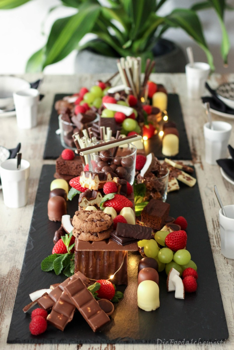 Schokobar tischdeko mit blogparade schokoladengen sse - Tischdeko pinterest ...
