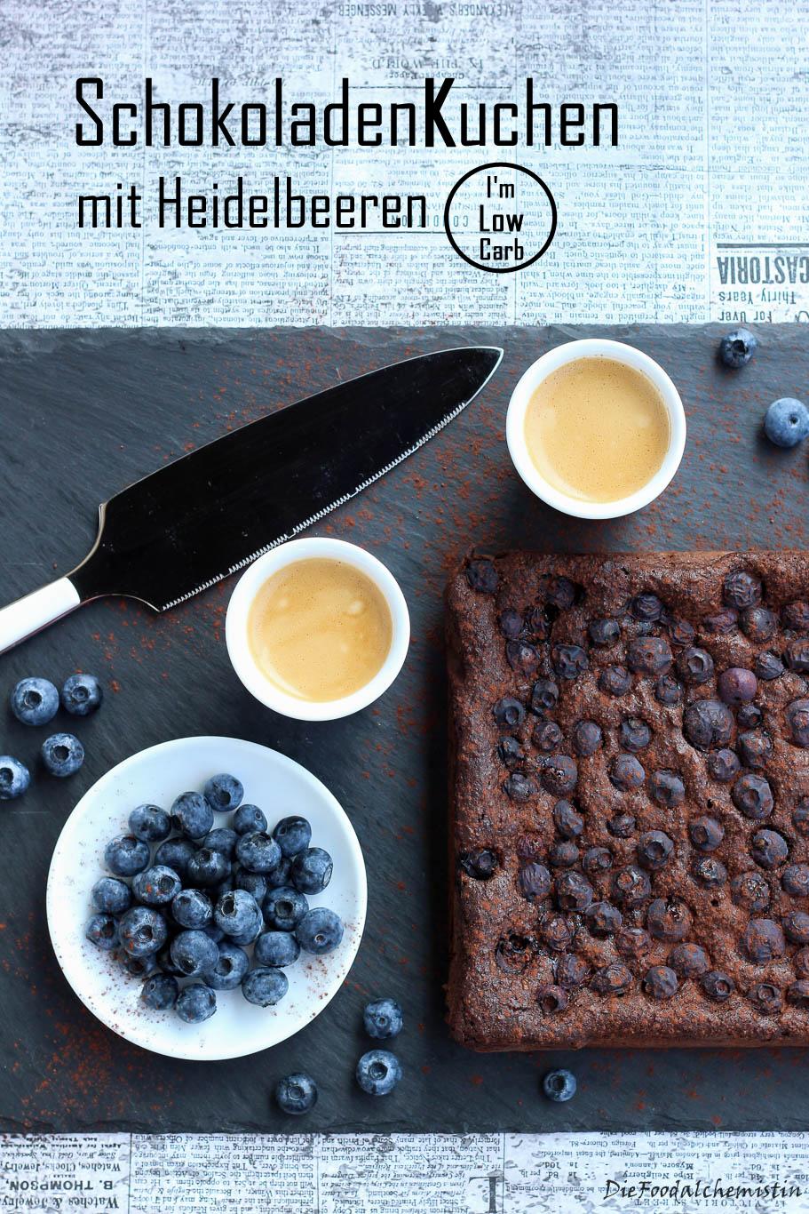Schokoladen Heidelbeer Kuchen (Low Carb)